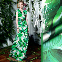 2017 The green banana leaves stretch silk satin coat dress cloth 100% Silk 2017 mainstream big luxury fabrics wholesale