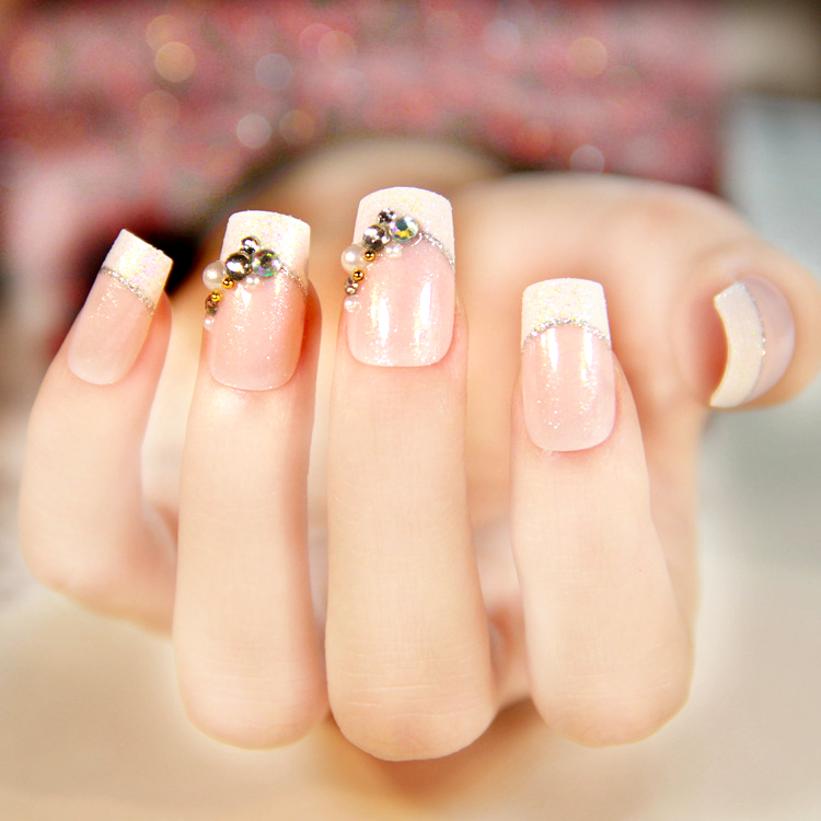 24 Pcs Senior Bride Wedding Fake Nails Normal Length French Manicure Patch Square Sculpt With Pearls Faux Ongle In False From Beauty Health On