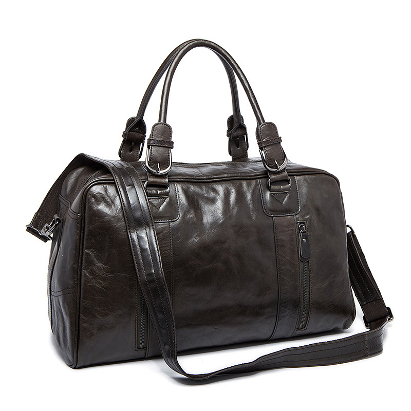 high quality crazy horse genuine leather men travel luggage bag casual men handbag vintage men shoulder bag messenger duffel bag high quality authentic famous polo golf double clothing bag men travel golf shoes bag custom handbag large capacity45 26 34 cm