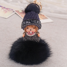 Rabbit fur ball keychain chaveiro key chain llaveros porte clef holder ring llavero sleutelhanger portachiavi keyring monchichi