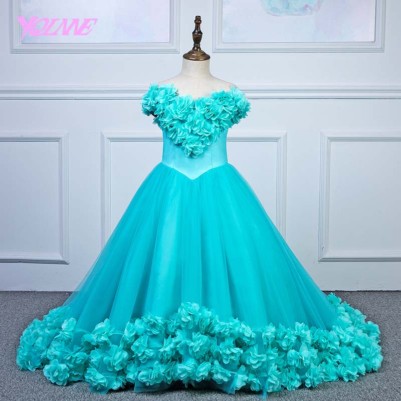 YQLNNE Off the Shoulder   Flower     Girl     Dresses   Ball Gown   Flowers   Tulle Lace-up First Communion   Dress   for   Girls