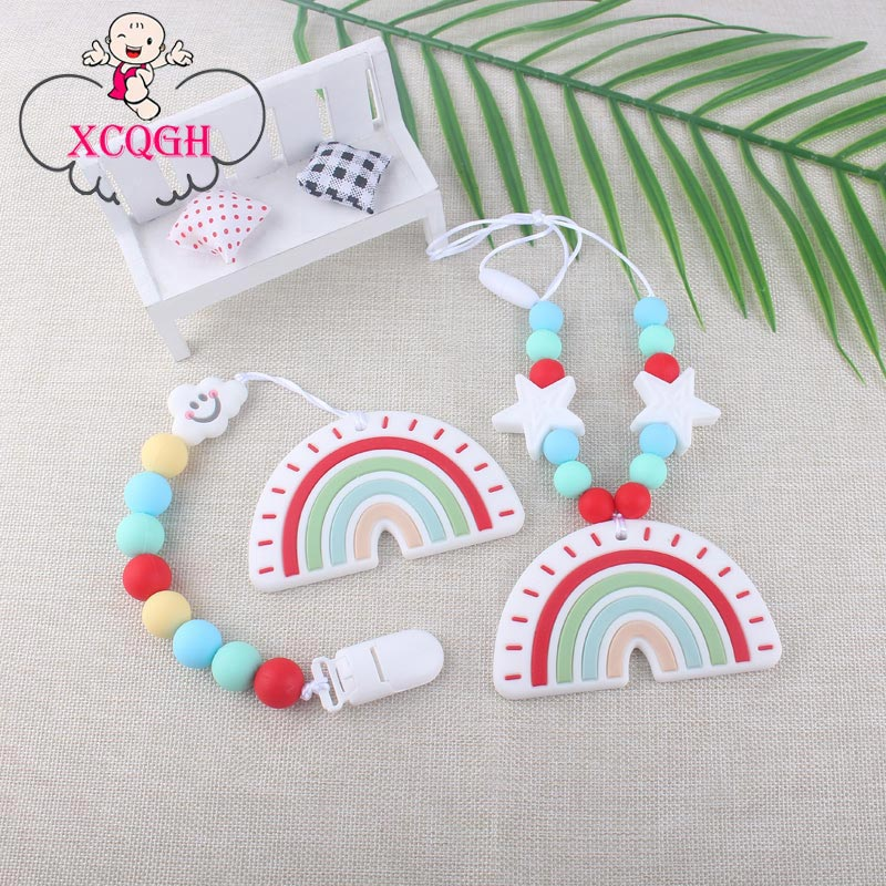 XCQGH Baby Food Grade Tooth Gel Rainbow Teether Baby Toy Baby Molar Silicone Pacifier Chain Necklace Baby Bite Teether