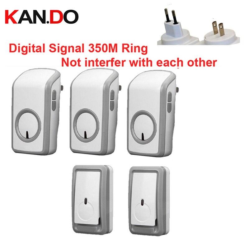 Euro/US Plug Bell Kits 2TX+3 RX Wireless Doorbell Waterproof 380 Meter Door Chime 48 Melodies Door Ring Digital Signal Door Bell