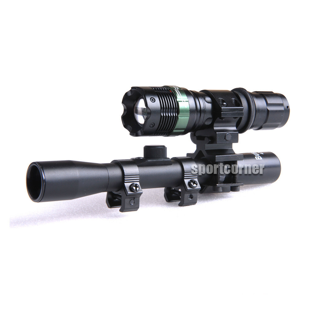 New hunting tactical powerful flashlight scope sniper 4X20 hunting RIFLE SCOPE +tactical Zoom Q5 CREE LED torch for .22 hunting