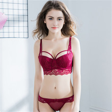 Hot Sexy Lace Lingerie Cutout Crossover Thin section Thick Underwear Small Chest Gather Adjust Bra Set