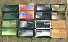 2* pieces USA American Flag 3D PVC patch Badges Black Red Green Grey Tan Luminous