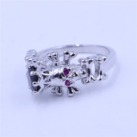 Choucong Fashion Skull Ring Women Punk Jewelry Black 5A Zircon Cz White Gold Filled Birthstone Wedding
