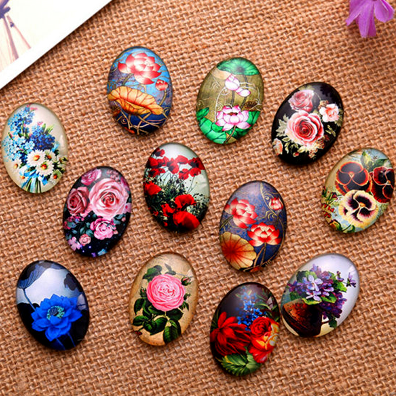 13*18/18*25/30*40mm Beautiful Flowers Pattern Ellipse Handmade Photo Glass Cabochons & Glass Dome Cover Pendant Cameo Settings