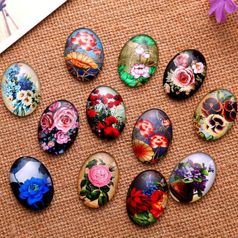 13*18/18*25/30*40mm Beautiful Flowers Pattern Ellipse Handmade Photo Glass Cabochons & Glass Dome Cover Pendant Cameo Settings(China)