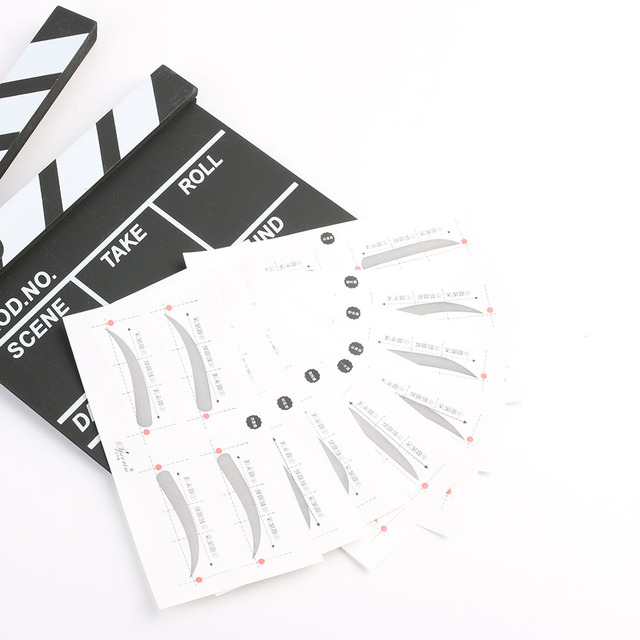 32Pairs/Set Professinal Fashion Eyebrow Template Stickers Eye Brow Eyebrow Stencils Drawing Card Stencil Makeup Tools 8 Types 4