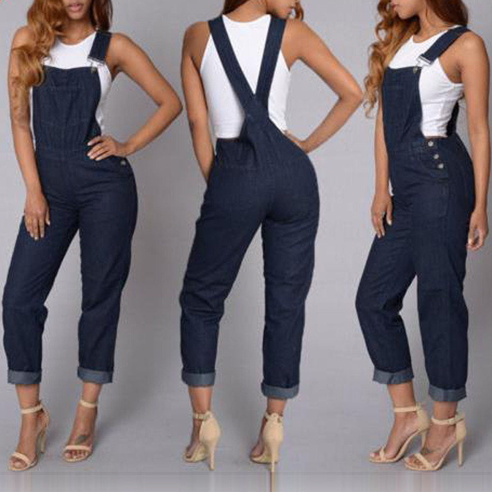 1f65e578b255 Fashion Women Solid Sleeveless Suspenders Denim Long Playsuit Jumpsuit  Pants Sexy Jumpsuits Women Sleeveless Striped 2018NewQX40