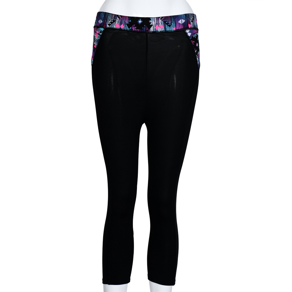 Womail Brand Hot Sale Elbows for fitness Women Elasticity Fitness Yoga Sport Pants Waist Flower Stretch Cropped Pants