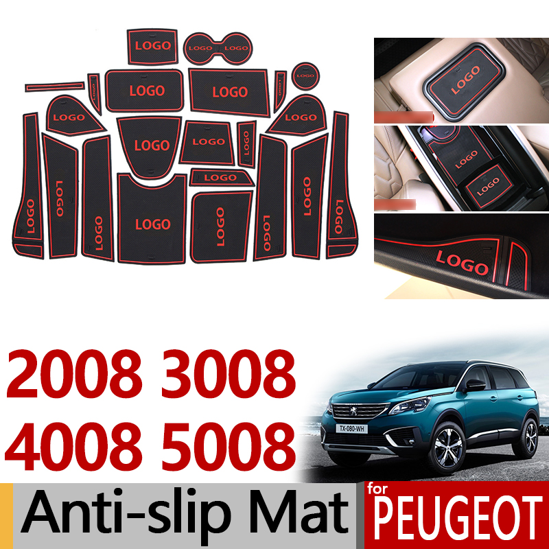 Anti-Slip Rubber Gate Slot Cup Mat for <font><b>Peugeot</b></font> 2008 <font><b>3008</b></font> MK1 4008 5008 MK2 5008GT GT <font><b>2016</b></font> 2017 2018 2019 Accessories Stickers image