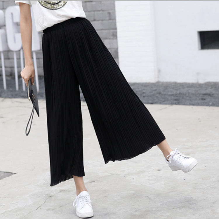 10 Colors Available 2019 Summer New Arrival Ladies Breeches Ankle Length   Wide     Leg     Pants   Thin & Soft Chiffon High Waist   Pants