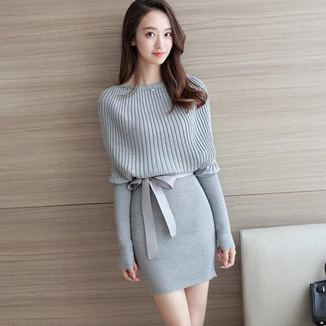 Korean Women Autumn Winter Sweater Dress 2018 Batwing Long Sleeve Knitted  Dress Sexy Plus Size Bodycon