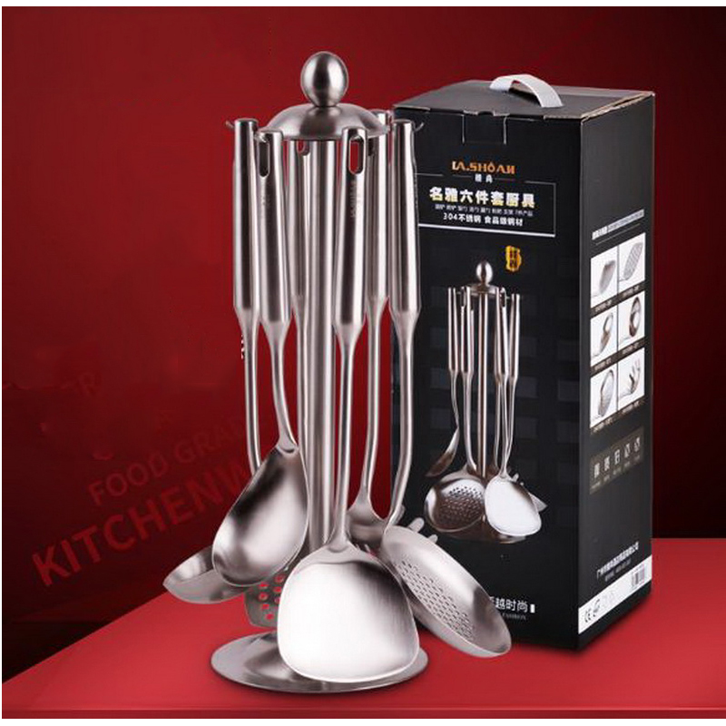 210211 Spatula set 304 stainless steel kitchenware full set of cookware cooking Humanized design Brushed polished