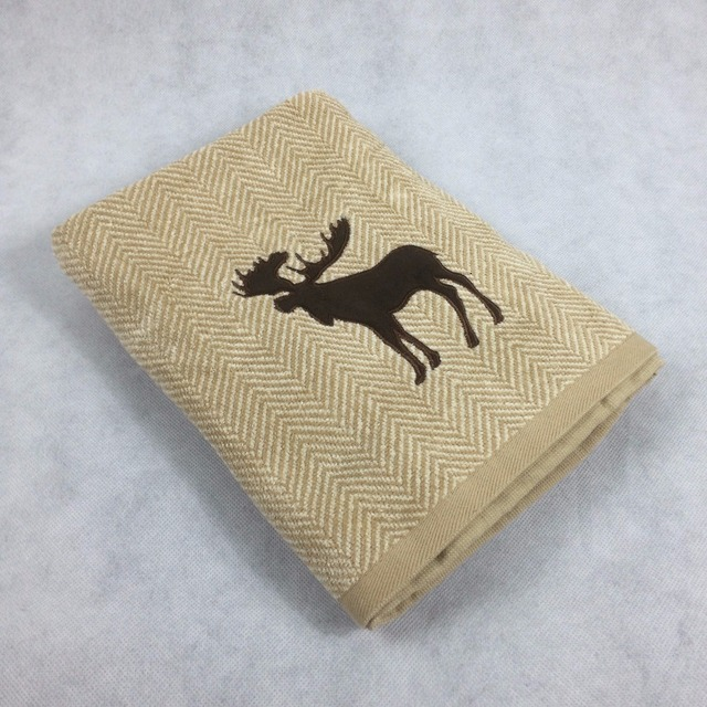 100% Cotton Brown Stripe Christmas Bath Towels Elk Embroidered ...