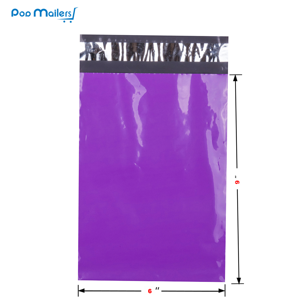100pcs 6x9 inch 15x23cm Purple Poly Mailers Shipping Bags Boutique Couture Envelopes in Paper Envelopes from Office School Supplies