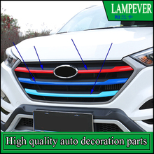 Car styling Front Grille Covers Trim For Hyundai Tucson 2015 2016 2017 Front Grille Around Trim Racing Grills Trim Auto Parts