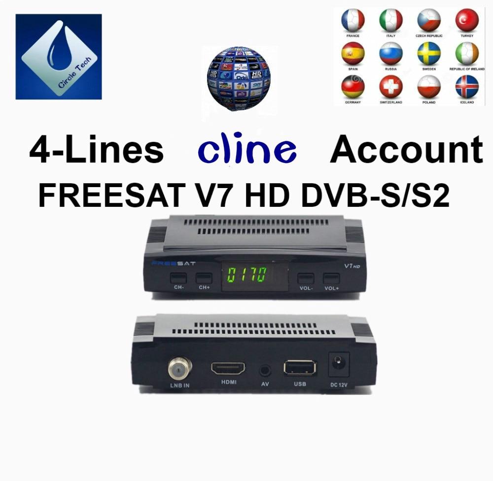 FREESAT V7 AV Câble Numérique Satellite TV Récepteur Set Top boîte 4-lignes cline 1 année Europe Espagne Allemagne pologne italie compte