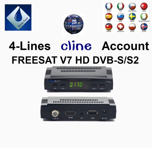 FREESAT V7 AV Cable Digital Satellite TV Receiver Set Top Box 4-lines cline 1 year Europe Spain Germany poland italy Account
