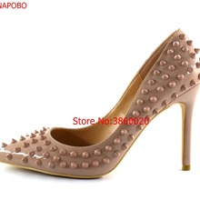 3ce35e07a573 Vinapobo Womens Ladies Handmade Fashion Rivets 120MM High Heel Pumps Party  Pointed Toe Stiletto Dress Pumps