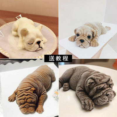 3D Silicone Molds Shar Pei 3D Soap Mold Of A Puppy Mold Of The Dog Molds Silicone Animals Mould Aroma Stone Moulds K037