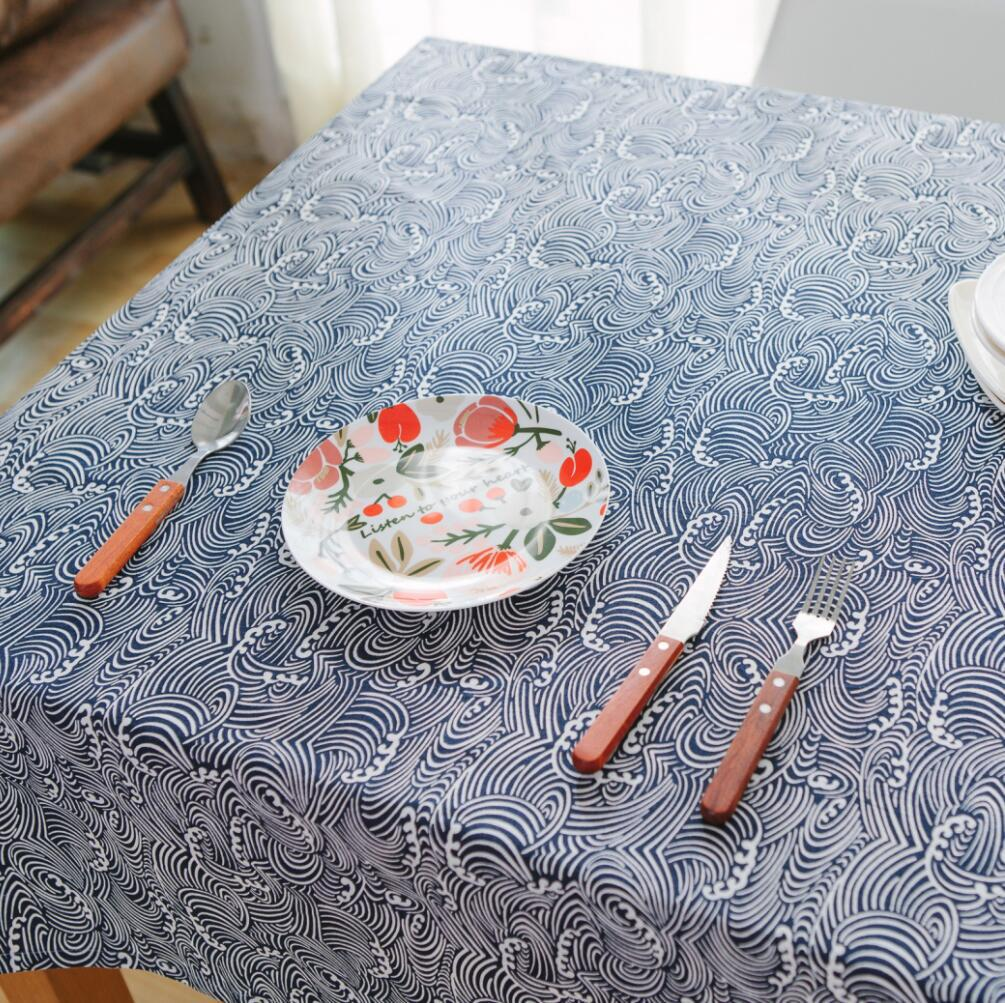Blue and white porcelain table cloth Cotton Print Chinese Style Rectangular Dinning Tablecloths Cover Home Decor Droping