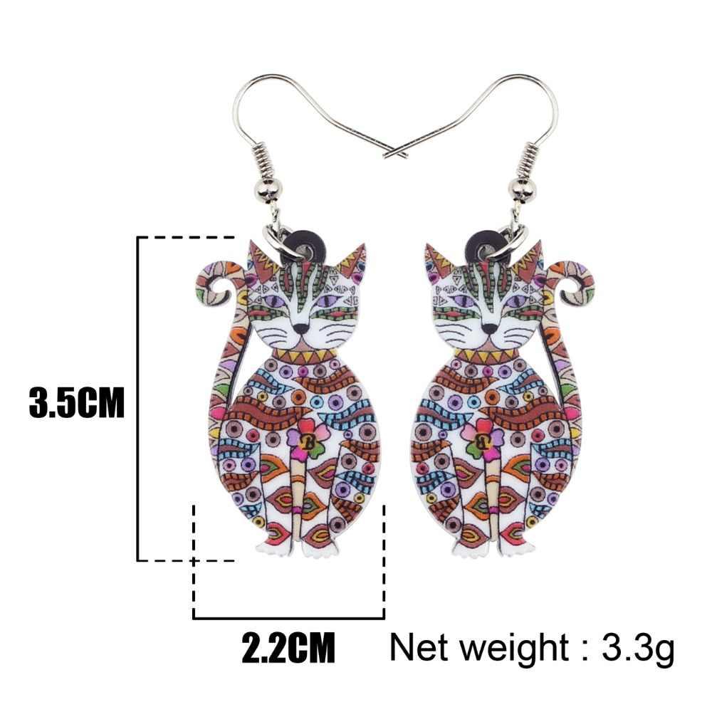 Bonsny Erklärung Acryl Floral Katze Kätzchen Ohrringe Big Lange Tropfen Baumeln Mode Tier Schmuck Für Mädchen Frauen Dame Zubehör
