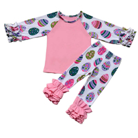 Children Clothes Toddler Girl Easter Icing Ruffle Shirt Pants 2 Pieces Clothing Set Baby Easter Day