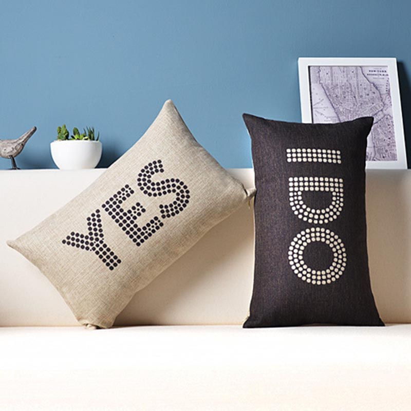 Letters YES I DO Cushion Covers Wedding Gift Pillowcase 50*30cm Home Decorative Sofa Throws Linen Cotton Pillow Cover cojines