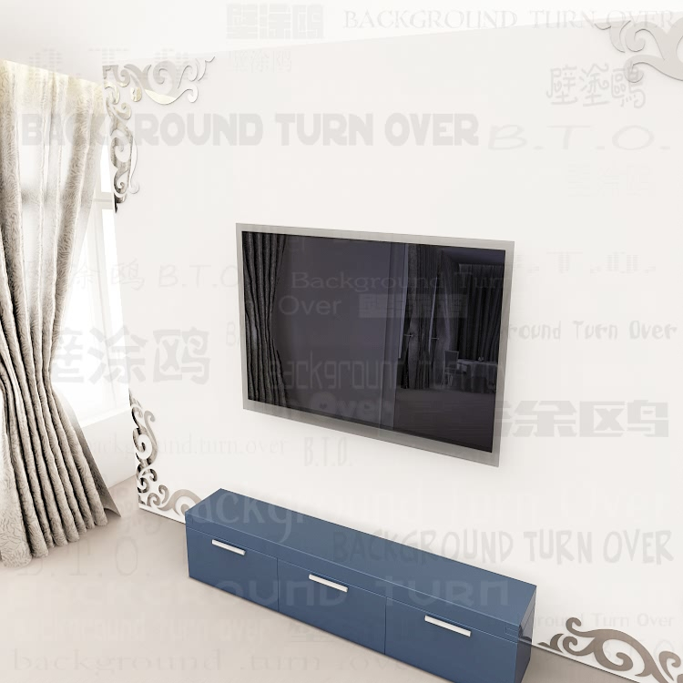 New design Acrylic Wall Stickers vintage frame pattern TV backdrop ...