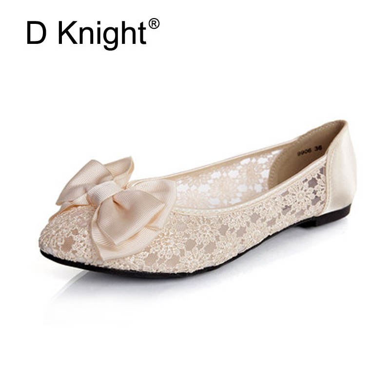 New 2018 Fashion Round Toe Breathable Lace Ballet Flats for Women Sexy Pointed Slip-on Women Lace Flats Ladies Wedding Shoes 41 odetina 2017 new designer lace up ballerina flats fashion women spring pointed toe shoes ladies cross straps soft flats non slip