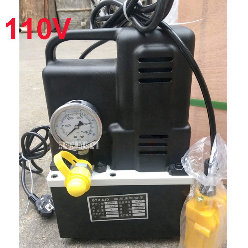 GYB-63D Electric Hydraulic Pump Portable Ultra High Pressure Small Hydraulic Oil Pump Station 110V 600W 3L 1600r/min Hot Sale high pressure hydraulic pump 0 75kw electric hydraulic pump oil pressure pedal hydraulic pump hhb 700a