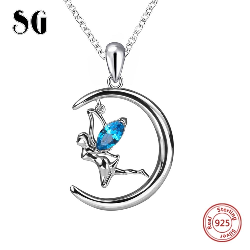 925 Sterling Gümüş Zəncir estetikası Boyunbağı Ay Moda - Gözəl zərgərlik