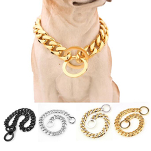Stainless Steel Slip Pet Dog Chain Heavy Duty Training Choke Chain Collars for Large Dogs Adjustable Safety Control Gold Silver 18 26 31mm new huge duty strong stainless steel silver gold lock buckle pet dog cuban curb chain training choke collar pit bull