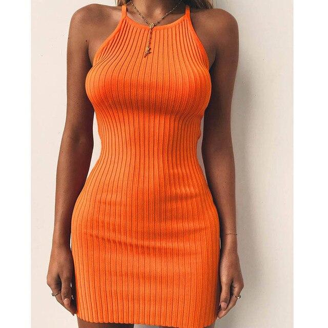 Fashion Women Sexy Backless Basic Dresses Vestidos Bodycon Dress Strap Solid Dress Sling Sleeveless Holiday Party Mini Dress 4