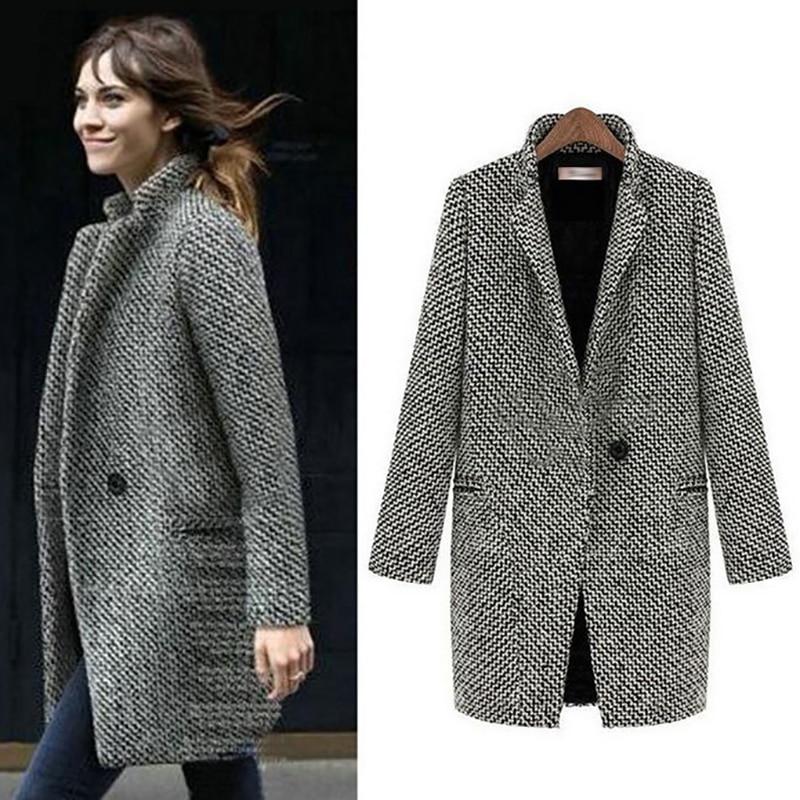 Winter long Blazer Women 2019 Formal Jacket Women Work Office Plaid Woolen Single Button Blazer feminino mujer Plus Size 5XL 6XL