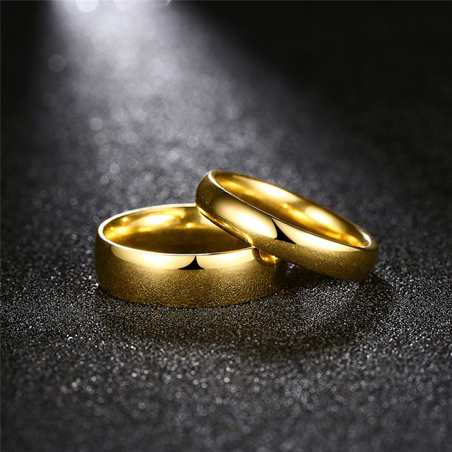 Online Shop Simple Couple Wedding Rings Pair Gold Color Couple ...