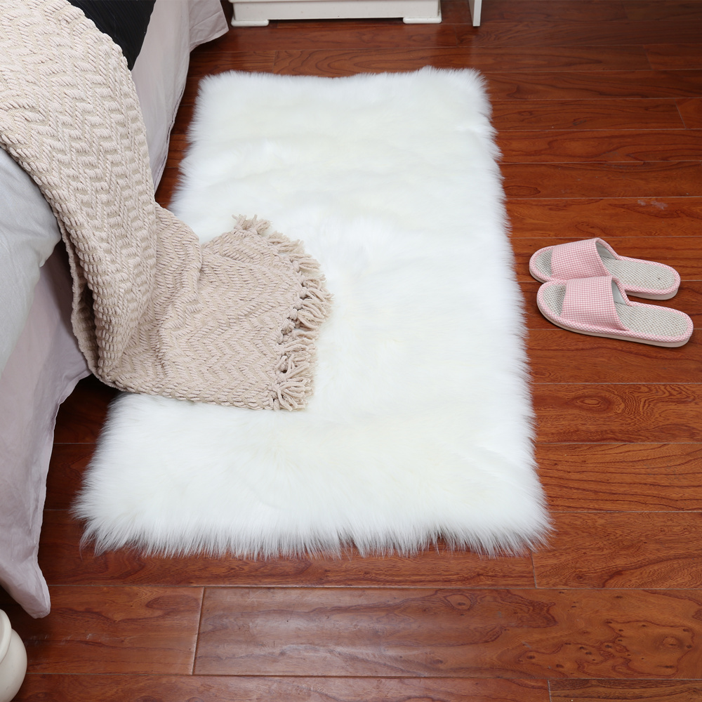 2019 New15 Colors Long Faux Fur Artificial Skin Rectangle Square Fluffy Chair Seat Sofa Cover Carpet Mat Area Rug Living Bedroom in Carpet from Home Garden