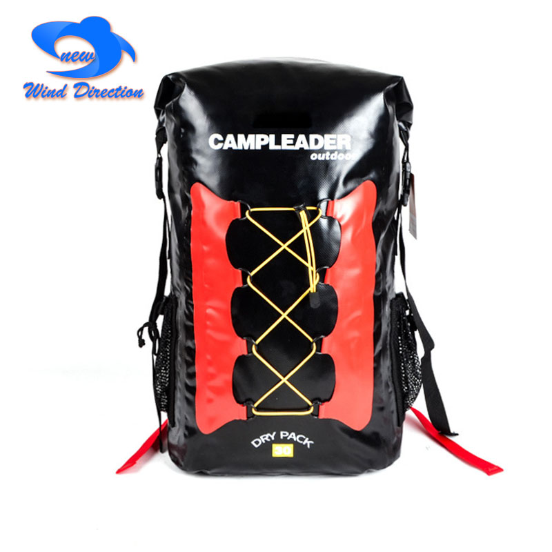 30L outdoor sport waterproof backpack dry bag High frequency welding PVC camping Self-driving beach swimming storage bag