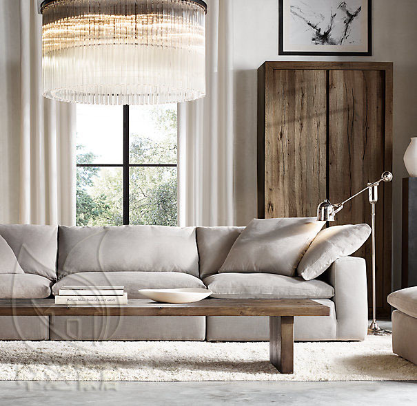 American country neoclassical retro fabric sofa Norasia linen size ...