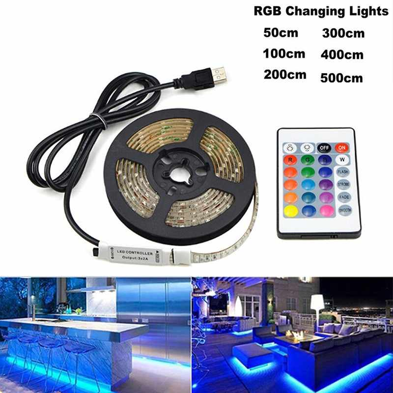 5 M USB LED Lampu Strip 5 V 3528 1 Meter 5 Meter Hangat Keren Putih Pink Hijau Biru Merah SMD Pita Langit-langit Kabinet Lampu Tahan Air