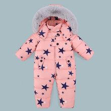 Winter Children Overalls Baby Snowsuit Newborn Duck Down Jumpsuit Infant Kids Thicken Rompers Boys Girls Fur Hooded