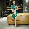 Chinese Traditional Qipao Garments Women's Silk and Satin Evening Mini Dress Ball Cheongsam S-XXL