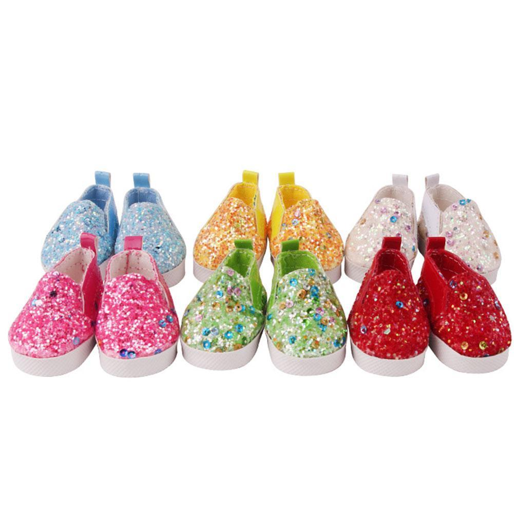 Doll Shoes PU Leather 5.5 cm Fit for 14.5 Inch Doll shoes Sequin Fashion Cute Small Shoes New Dolls Accessory Toy