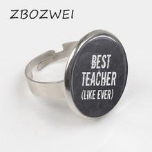 ZBOZWIE 2018 Best Teacher, Teacher Ring, Teacher Jewelry, Teacher Gift personality Private custom Crystal glass Ring кружка lefard world best teacher 356 162