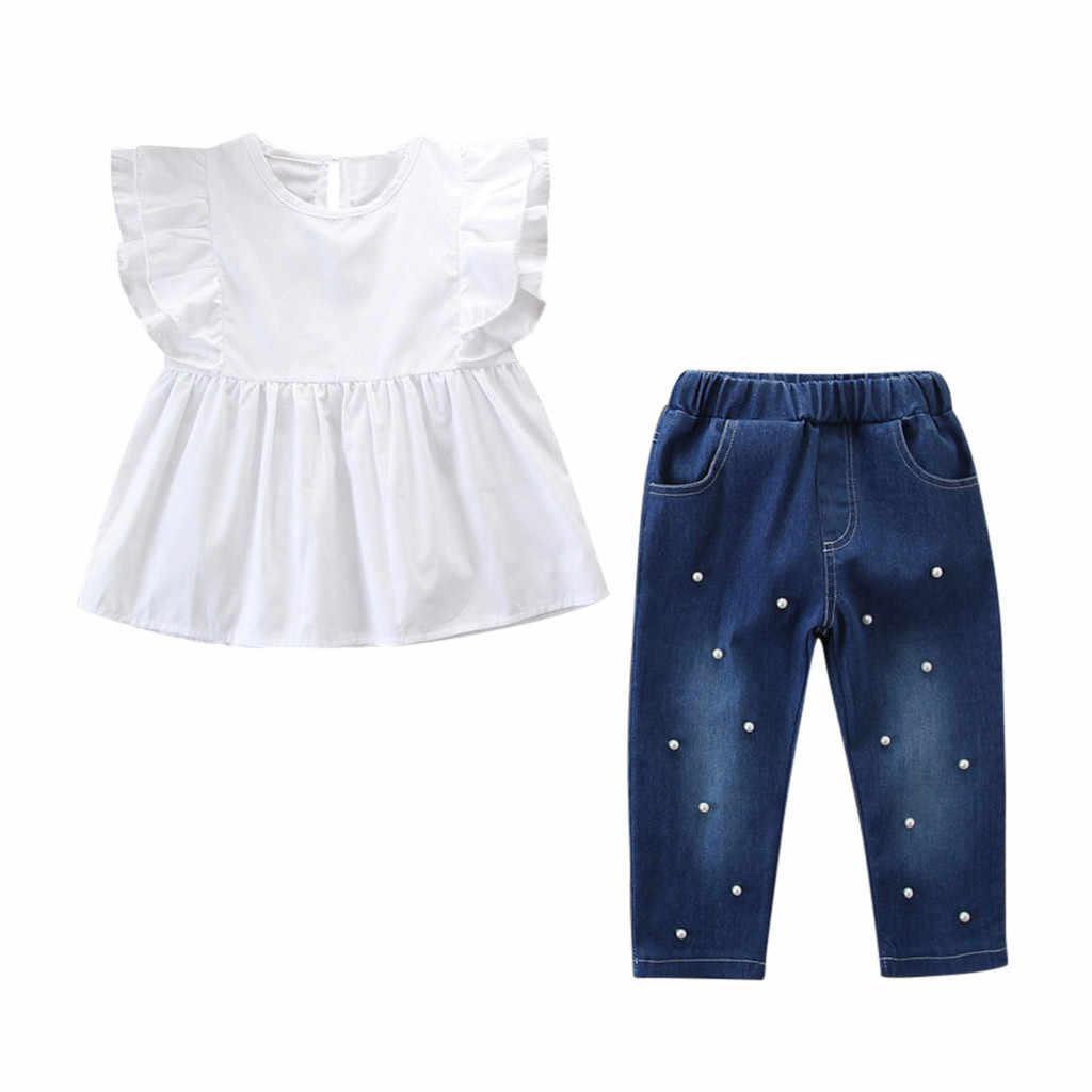 4619ac012 MUQGEW bebé Niñas Ropa Conjunto de camiseta + perla Denim Pantalones  vaqueros 2 piezas de niño