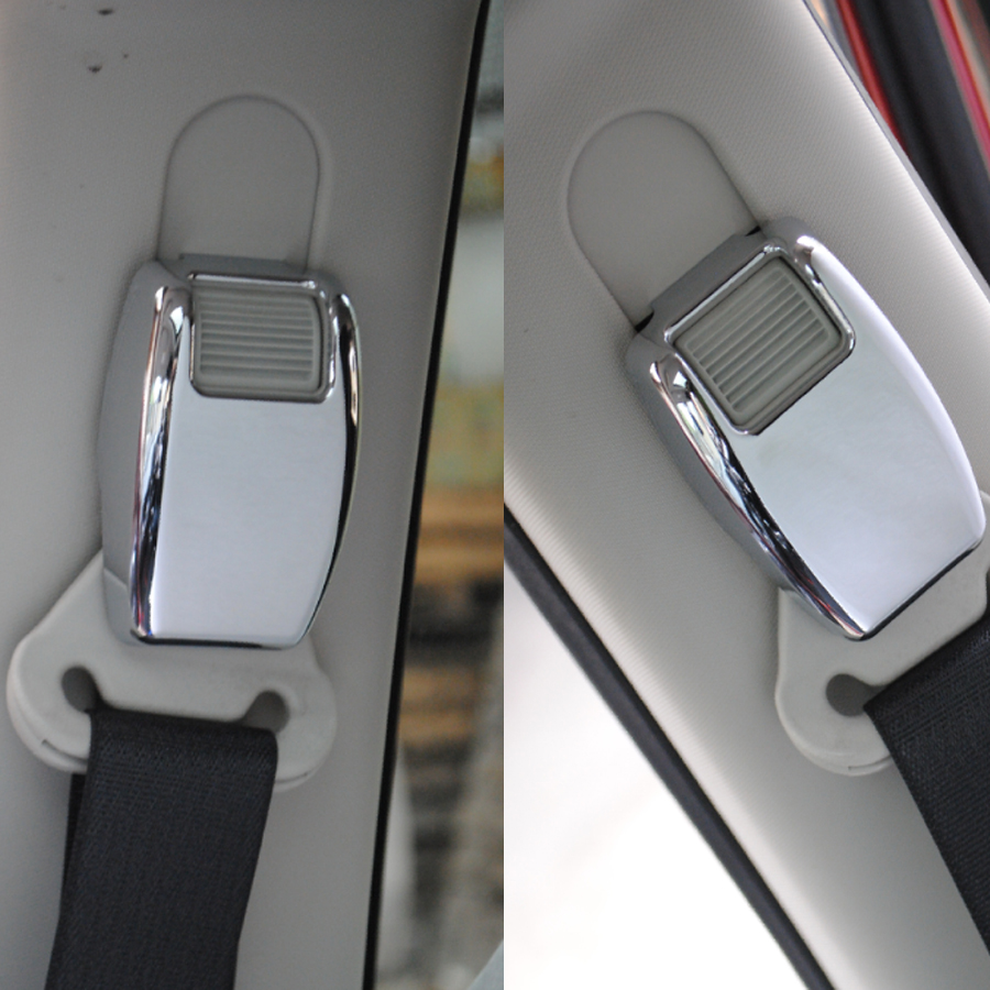2Pcs/set <font><b>Chrome</b></font> ABS Car Interior Seat Safety Belt Cover Trim Styling Sticker For <font><b>Jeep</b></font> <font><b>Compass</b></font> Patriot 2011-2016 image