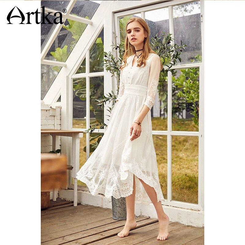 ARTKA Automne 2018 Nouveau Femmes Vintage Dentelle Brodé Taille Haute V-cou Blanc Princesse Robe LA10983C